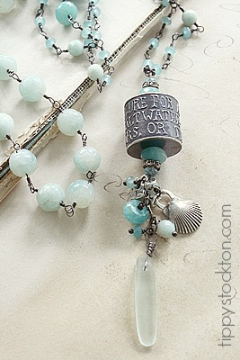 Aquamarine Amazonite Handmade Sterling Bead - The Cure Necklace