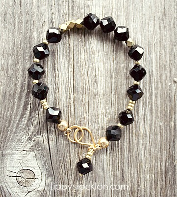 Black Czech  Glass and Gold Bracelet - The Deidre Bracelet