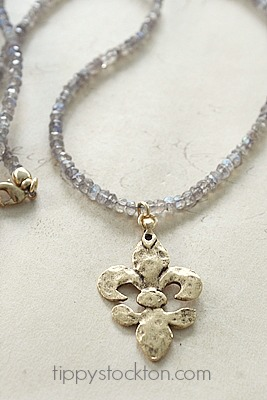 Labradorite and Gold or Sterling Silver  Hammered  Fleur de Lis Pendant - The Fleur de Lis Necklace