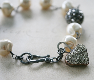 The Forever Bracelet - Vintage Glass Pearls Oxidized Sterling Silver