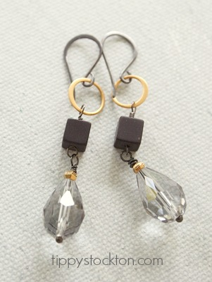 Gray Teardrop and Hematite Earrings - The Belinda Earrings