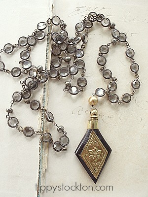 Vintage Black Diamond Crystal Chain and a Vintage Perfume Bottle Pendant - The Gwyneth Necklace