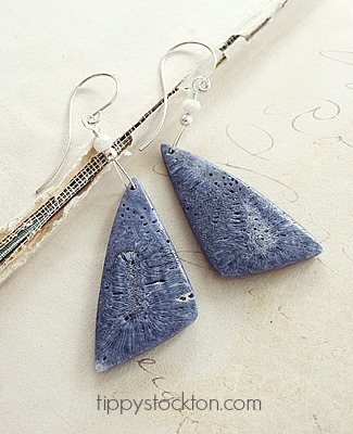 Blue Fossil Coral and Sterling Silver Earrings - The Johanna Earrings