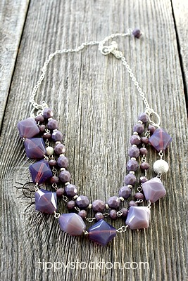 Violet Vintage Glass Layered Necklace - The Kayli Necklace