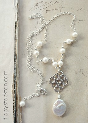Fresh Water Pearl and Sterling Silver Necklace - The Larissa Necklace