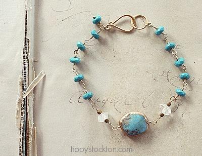 Turquoise, Clear Quartz, and Gold Bracelet - The Mission Bracelet