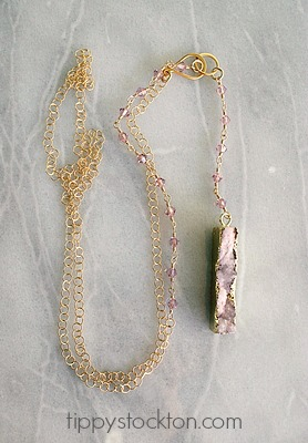 Pink Druzy Bar Long Lariat Style Necklace - The Monica Necklace