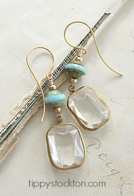 Vintage Aqua Glass and Lucite Cabachon Earrings - The Remy Earrings