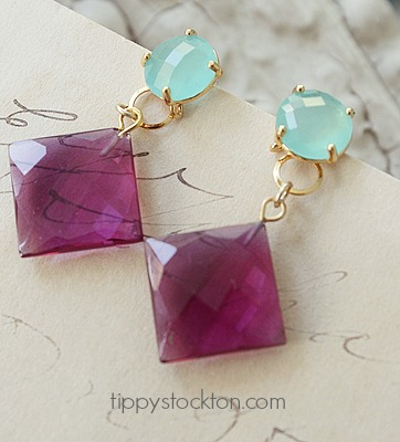 Aqua Quartz and Pink Chalcedony Post Earrings - The Tiffany Earrings