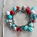 Market Day Trinket Bracelet - Aqua and Red