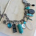 Market Day Trinket Necklace - Turquoise and Black, Cross, Rhinestones, Virginia License Tag