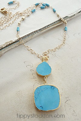 Turquoise Duo Drop 14kt Gold Filled Necklace - The Kirstie Necklace
