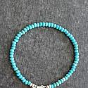 Turquoise and Sterling Silver Skinny Bracelet - The Leesa Bracelet