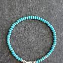 Turquoise and Sterling Silver Skinny Bracelet - The Leesa Bracelet