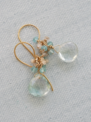 Clear Aqua Quartz Cluster Earrings - The Tara Earrings