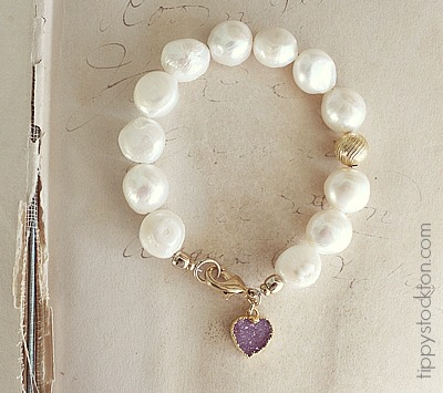Orchid Druzy and Fresh Water Pearl Bracelet - The Laura Bracelet