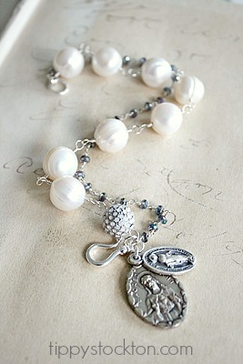 Religious Charm Fresh Water Pearls Quartz Bracelet - The Saint Bracelet