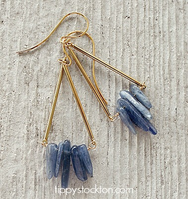 The Danielle Earrings - Kyanite and Gold