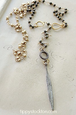Pyrite and Gold Necklace with Feather Pendant - The Lenox Necklace