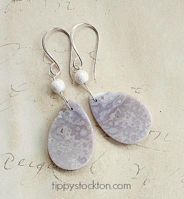 Gray Agate Slab Sterling Silver Earrings - The Rain Earrings