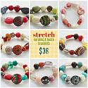 Vintage Lucite and Ceramic Stretch Bracelets