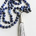 Sodalite Boho Tassel Necklace - The Como Necklace